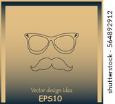 mustache and glasses vector... | Shutterstock .eps vector #564892912