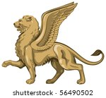 Winged Lion In Vector  Golden...