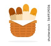 basket with baguettes vector... | Shutterstock .eps vector #564919036
