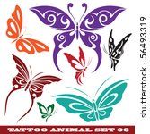Stock vector vector set templates butterfly for tattoo and design on different topics 56493319