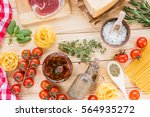 cherry tomatoes  dried tomatoes ... | Shutterstock . vector #564935272