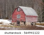 aging and distressed red barn... | Shutterstock . vector #564941122