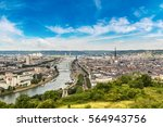 panoramic aerial view of rouen... | Shutterstock . vector #564943756