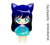 little girl with cat ears ...   Shutterstock .eps vector #564943792