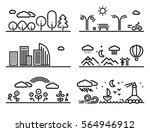 linear landscapes set with... | Shutterstock .eps vector #564946912