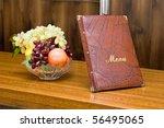 menu in restaurant with vase... | Shutterstock . vector #56495065