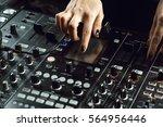 dj playing music at mixer... | Shutterstock . vector #564956446