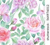 watercolor flower pattern   Shutterstock . vector #564976012