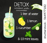 recipe detox cocktail with... | Shutterstock .eps vector #564977182