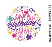 happy birthday card with... | Shutterstock .eps vector #564985798
