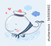 cute whale in a sailor suit... | Shutterstock .eps vector #565005832