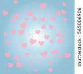 romantic background with pink... | Shutterstock .eps vector #565006906