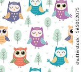Cute Owls Seamless Pattern....