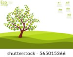tree on green grass. eco... | Shutterstock .eps vector #565015366