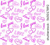 seamless pattern of hearts and... | Shutterstock .eps vector #565017892