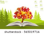tree on open book on green... | Shutterstock .eps vector #565019716