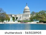 Stock photo us capitol congress with tourists in a sunny day 565028905
