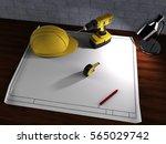 project  helmet  drill  lamp... | Shutterstock . vector #565029742
