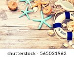 summer holiday frame with... | Shutterstock . vector #565031962