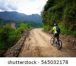 cycling death road bolivia | Shutterstock . vector #565032178