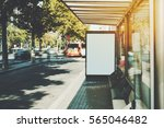 white billboard on empty bus... | Shutterstock . vector #565046482