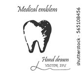human tooth icon. this emblem... | Shutterstock .eps vector #565108456