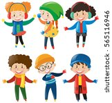 happy children in winter... | Shutterstock .eps vector #565116946