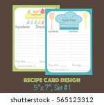 cute recipe cards vector ... | Shutterstock .eps vector #565123312