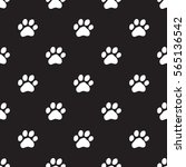 seamless dog paw pattern on... | Shutterstock .eps vector #565136542