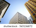 Small photo of Low angle view of midrise office buildings at Downtown Miami FL