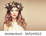 beautiful blonde woman with... | Shutterstock . vector #565144312