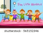 five little monkeys  kids... | Shutterstock .eps vector #565152346