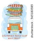 van surf illustration   t shirt ... | Shutterstock .eps vector #565183585