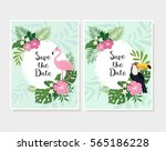 set of save the date cards with ...   Shutterstock .eps vector #565186228