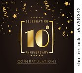 10th anniversary logo with... | Shutterstock .eps vector #565204342