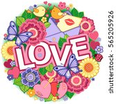 vector greeting card for lovers ... | Shutterstock .eps vector #565205926
