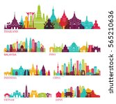 Skyline detailed silhouette set (Thailand, Malaysia, India, Indonesia, China, Vietnam, Japan ). Vector illustration | Shutterstock vector #565210636
