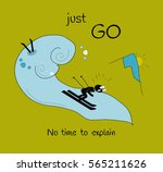 card just go with fun skier and ... | Shutterstock .eps vector #565211626