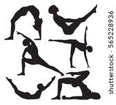 set of 6 yoga positions black... | Shutterstock .eps vector #565228936