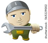 cartoon mechanic holding a...   Shutterstock .eps vector #565229002