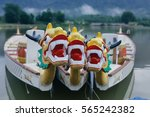 dragon head on the dragon boat. | Shutterstock . vector #565242382