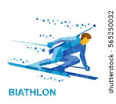 winter sports   biathlon.... | Shutterstock .eps vector #565250032