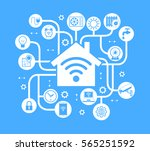 smart home control concept.... | Shutterstock .eps vector #565251592