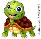 Stock vector vector illustration of cute turtle cartoon smiling 565255915