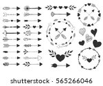 hearts and arrows. vector.... | Shutterstock .eps vector #565266046