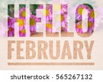 hello february words on small... | Shutterstock . vector #565267132