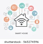 smart home control concept.... | Shutterstock .eps vector #565274596