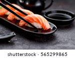 Japanese Cuisine. Salmon Sushi...