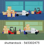 professional workers load the... | Shutterstock .eps vector #565302475