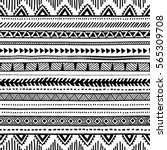 seamless ethnic pattern. black... | Shutterstock .eps vector #565309708